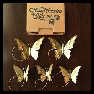 Accents - Home Interiors Vintage Butterflies Metal Wall Art